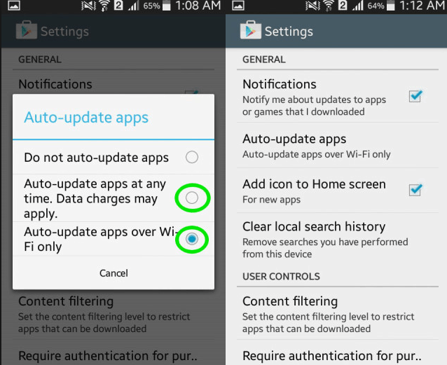 Auto Update Apps Over Wifi Only.
