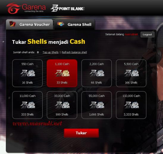 tukar shell ke cash